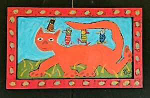 John-Sperry-Self-Taught-Southern-Primitive-Folk-Art-Painting-Birds-amp-Kitty-Cat