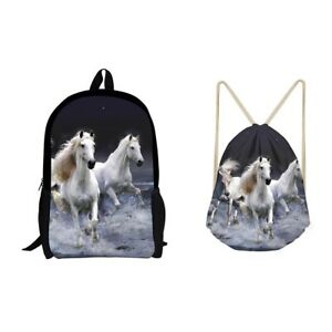 958eab66f17f Details about School Bag Set Animal Horse Wolf Print Backpack Bookbag Set  With Drawstring Bags