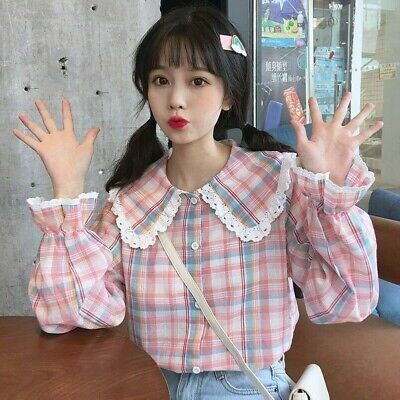 Lady Girl/'s Ruffle Blouse T Shirts Lolita Tops Sweet Cute Embroidery Casual Chic