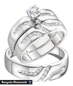 Image Is Loading Diamond 3 Ring Wedding Band Set 28 Ct