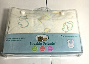 Lot Of 2 Lovable Friends 12 Disposable Bibs New Baby