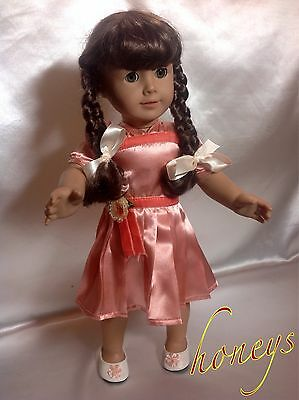 """Peach Recital Dress /& Shoes Set made for Molly 18/"""" American Girl Doll Clothes"""