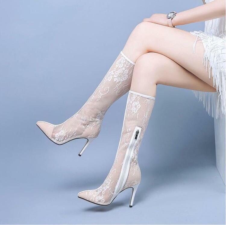 Womens Pointed Toe Stiletto Heels Lace Mid Calf Boots Breathable shoes Hollow U4