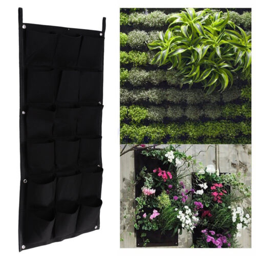 18 Pocket Flower Planting Hanging Bags Garden Wall Plants Pouch Basket Green