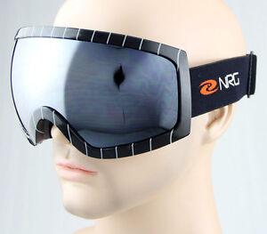 448134c276b Men Black Stripe Frame Smoke Mirror Dual Lens Antifog Ski Snowboard ...