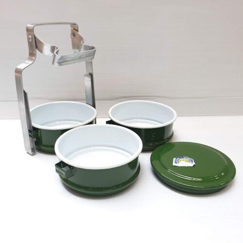 Tiffin Lunch Box Thai émail Bento alimentaire Transporteur Conteneur Pinto métal émaillé vert