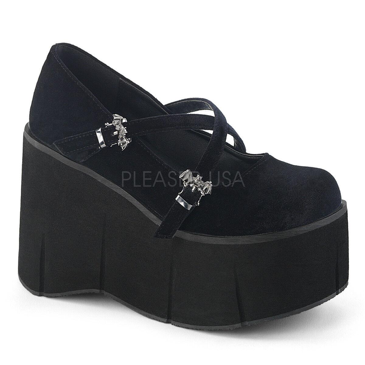 Demonia KERA-10 Women's Black Velvet Strap Criss-Cross Strap Velvet Wedge Platform Maryjane f20e7d