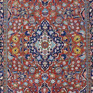 Antik-Keshan-Orient-Teppich-202x126-cm-Pflanzenfarben-Kashan-rug-Tapis-Tappeto