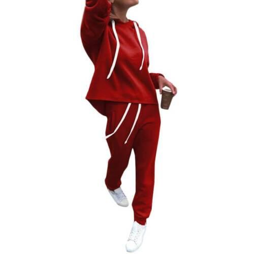 Womens Ladies Tracksuit Hooded Set Lounge Wear Sports Fitness Jogging Sweatshirt