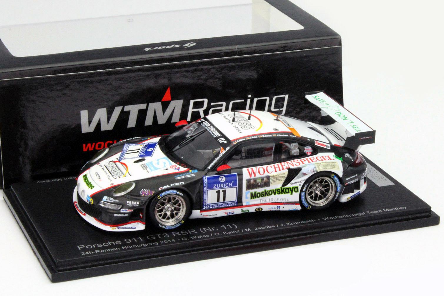 Porsche 911 GT3 RSR  11  24h Nürburgbague 2014 1 43 Spark  chaud