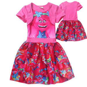 Trolls-Bright-Pink-A-Line-Short-Sleeved-Poppy-Dress-Sealed-NWT-Ages-3-8-yrs