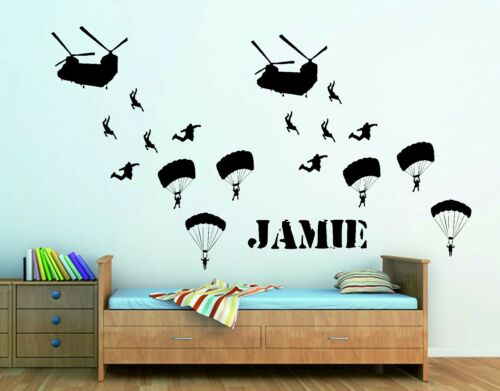 BOYS Bedroom PERSONALISED ARMY CHINOOKS AND TROOPS WALL ART STICKER