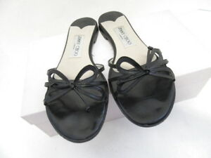 9798650dc7a6 Image is loading JIMMY-CHOO-BLACK-LEATHER-SLIDES-SANDALS-W-BOW-