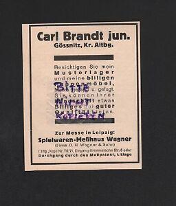 Möbel Brandt gössnitz altbg werbung 1931 carl brandt jun puppen möbel ebay