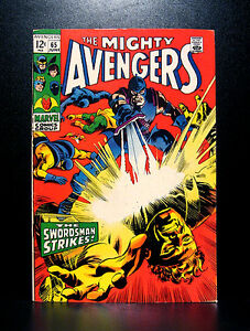 COMICS-Marvel-Avengers-65-1969-Swordsman-app-RARE-thor-spiderman-hulk