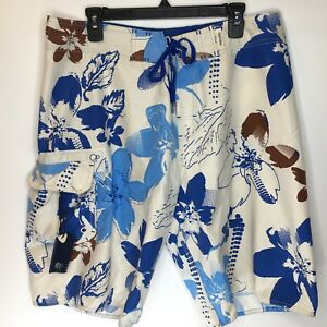 8cd49c5513 OP Mens Swim Shorts Size 36 Tropical White with Blue Flowers Ocean ...