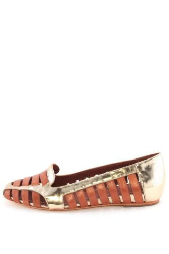 New Gemma Gold Loafer James Flats Tone Elizabeth Brown Cut Two And Out Multi wOT7cR