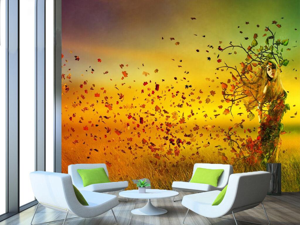 3D Girl Floating Leaves 885 Wallpaper Mural Paper Wall Print Wallpaper Murals UK