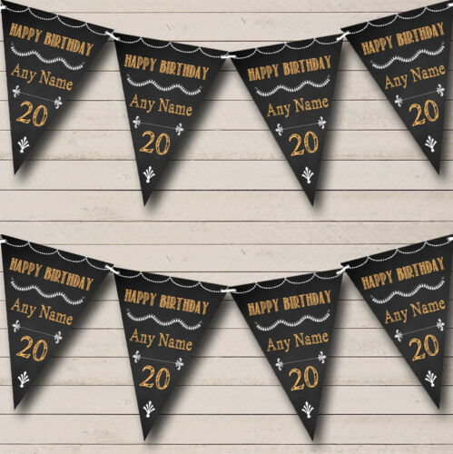 Chalkboard Style Black White /& Orange Personalised Birthday Bunting Party Banner