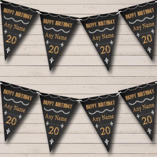 Chalkboard Style Black White /& Orange Personalised Birthday Bunting Party Banner