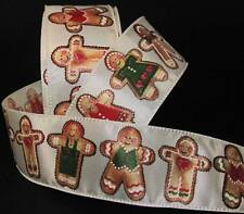"5 Yards Christmas Gingerbread Man Cookie Ivory Cream Satin Wired Ribbon 2 1/2""W"