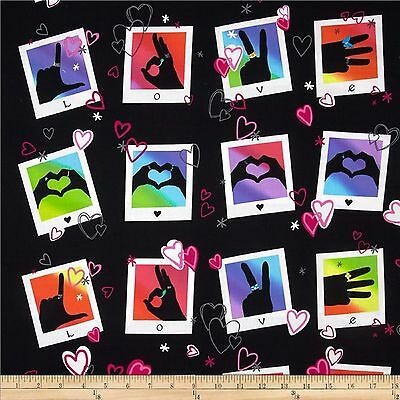 Signs of Love Sign Language 100% Cotton Fabric  Panel  by Benartex