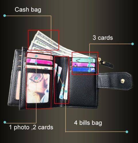 Petite femme portefeuille carte monnaie Titulaire Cash Sac Argent Fashion en cuir sac à main