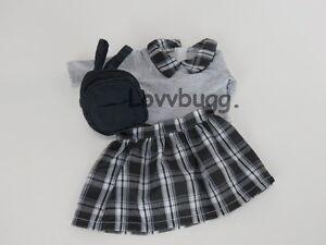 "Plaid Skirt Set with Backpack for 18"" American Girl Doll Lovvbugg Selection"