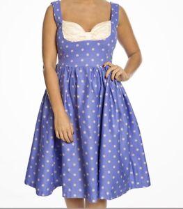 Nuevo-LINDY-BOP-Talla-10-Purpura-De-Lunares-Rockabilly-Swing-Dress-Vintage-40s-50s
