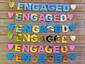 ENGAGED-BANNER-ENGAGEMENT-PARTY-DECORATION-GOLD-SILVER-PINK-BLUE-BUNTING-HEARTS