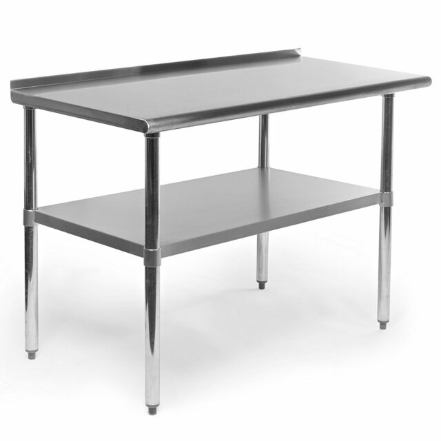 Stainless Steel Kitchen Work Table W Backsplash Shelf Counter Top ...