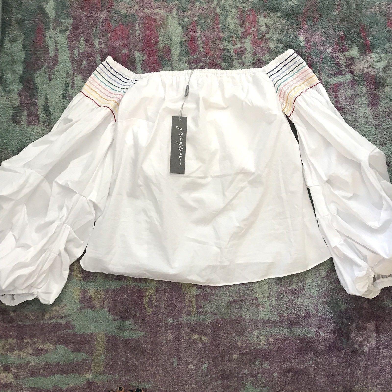 grissn Femme Blanc Off-épaule Puff Haut à hommeches Neuf avec étiquettes taille S 273   fabricants Standard prix de détail