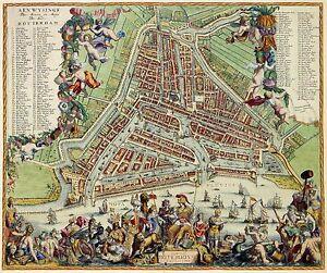 Antique Map Plan Roterodami Rotterdam Nederland Netherlands Holland ...