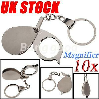 10xPocket Folding Jewellery Magnifier Magnifying Eye Glass Loupe Loop Keychain