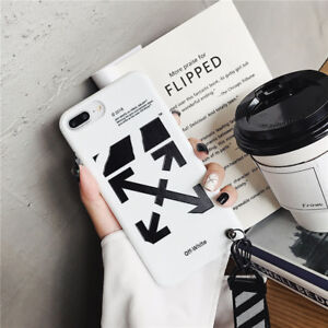 premium selection 8fdc6 50750 Details about OFF WHITE Soft Phone Case Cover With Lanyard For iPhone 6S 7  8 X 10 Black White
