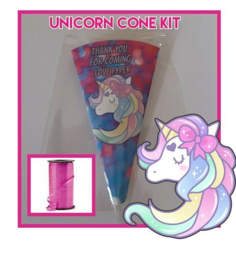 10 unicorn DIY//party bags//sweet cones//supplies//kit birthday celebration