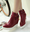 thumbnail 9 - Women Pointed Toe Wedge Heels Ankle Boots Punk Leather Vintage Party Chic Shoes