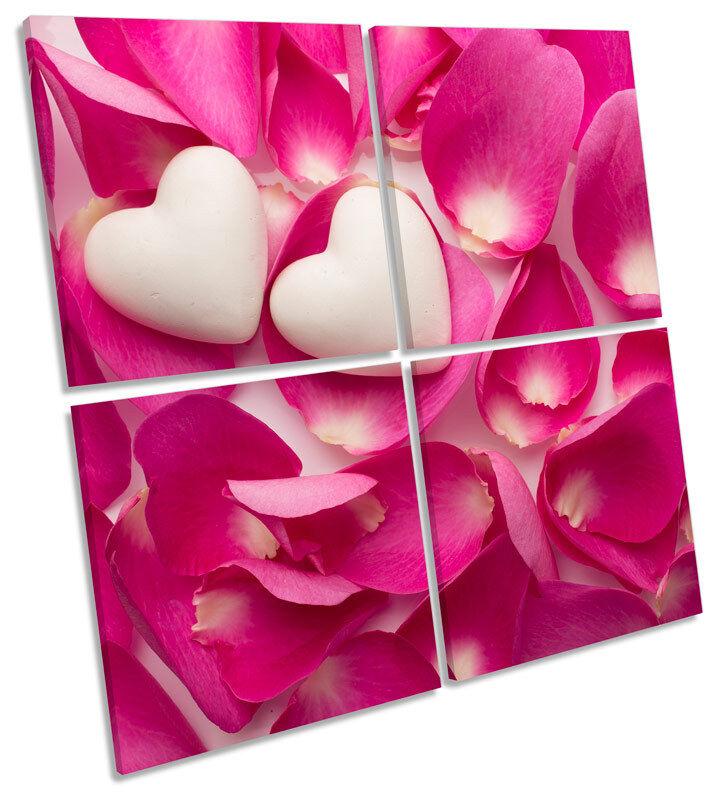 Amor Corazón Pétalos de Rosa Tela Pa rojo Cuadrado  Arte Cuadrado rojo de impresión de múltiples a24860