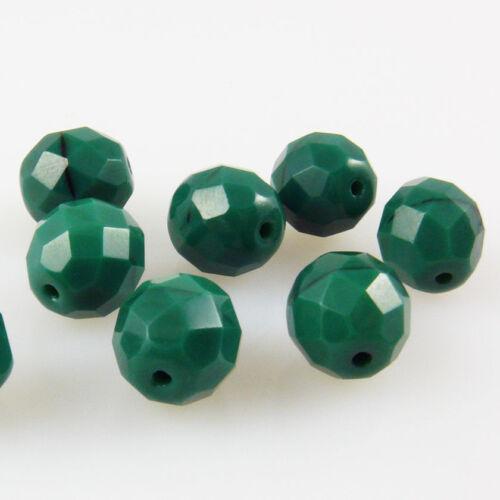 8 böhmische Glasschliffperlen Kugeln facettiert 10mm Grün opak Glasbeads rund