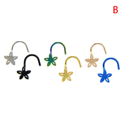 6pcs Surgical Steel Colorful Nose Stud Screw Ring Bone Bar Pin Piercing Jewelry/&