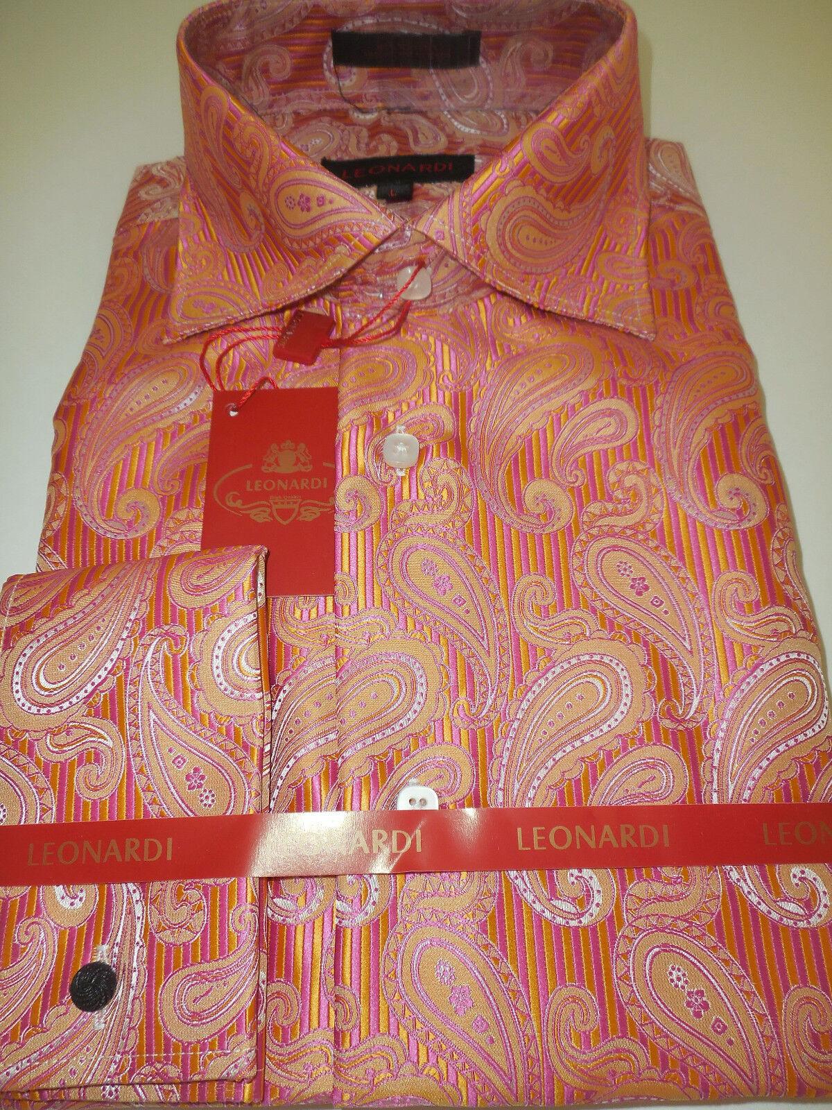 Mens Leonardi 388 Shiny Coral gold Paisley High Collar Shirt sizes  M L XL 2XL