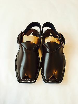 2019 Neuestes Design Authentic Mens Afghan Shoes Brown Leather Sandals Desert Dress Arab Islam New