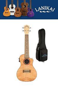 Lanikai Flame Maple Concert Acoustic Electric Ukulele +Gig Bag Authorized Dealer