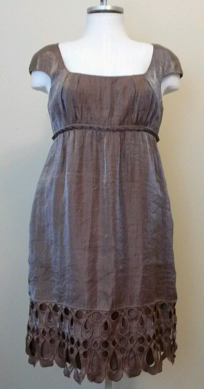 Adrianna Papell Womens Bronze Brown Metallic Cap Sleeve Dress Size 14