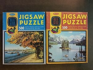 Jigsaw-Puzzles-Deluxe-Guild-500-Piece-Autum-Gold-Evergreen-Island-Lot-of-2-used