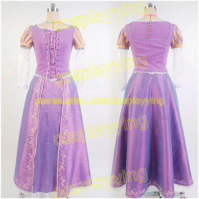 Tangled Rapunzel Adult Cosplay Costume Princess Fancy Dress Party Clothes Outfit