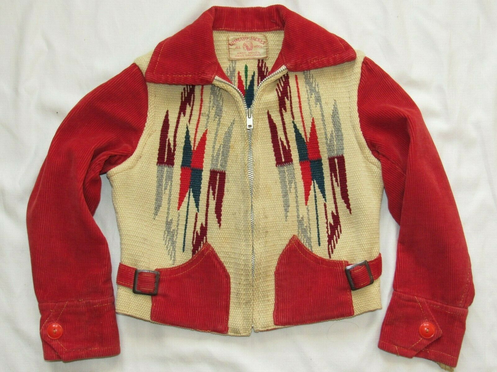 Vtg 1940s Hand Woven Chimayo Jacket Talon Zipper … - image 1