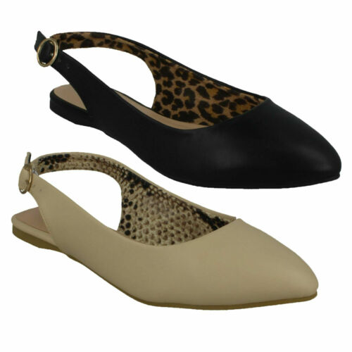 Ladies Spot On Flat Slingback Pointed Toe Shoes