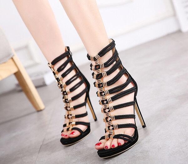 Sandali stivali eleganti tacco stiletto 11 cm nero oro simil simil simil pelle eleganti 9857 593109