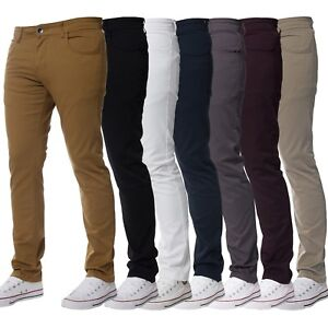 Kruze-Mens-Slim-Fit-Skinny-Stretch-Chinos-Basic-Trousers-Pants-Big-King-Size